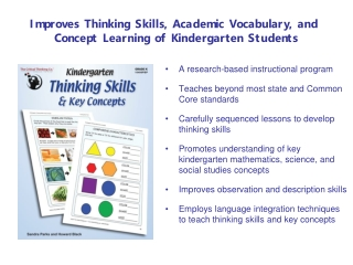 Improves Thinking Skills, Academic Vocabulary, and  Concept Learning of Kindergarten Students