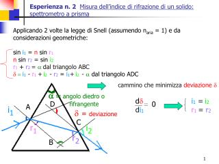 Esperienza n. 2 Misura dell'indice di rifrazione di un solido: spettrometro a prisma