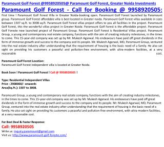 Paramount Golf Forest @9958920505@ Paramount Golf Forest