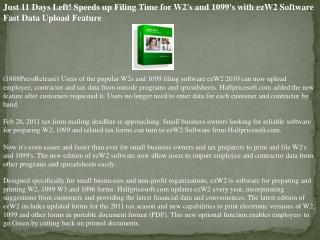 Just 11 Days Left! Speeds up Filing Time for W2's and 1099's