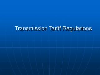 Transmission Tariff Regulations