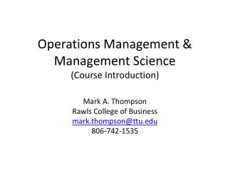 Operations Management & Management Science (Course Introduction)