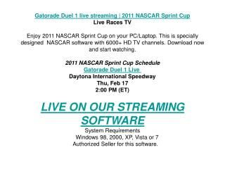 Gatorade Duel 1 live streaming | 2011 NASCAR Sprint Cup | Li