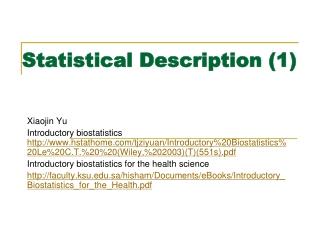 Statistical Description (1)