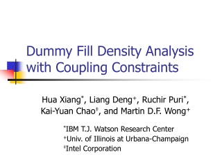 Dummy Fill Density Analysis with Coupling Constraints