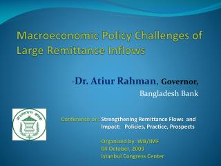 Macroeconomic Policy Challenges of Large Remittance Inflows