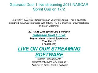 Gatorade Duel 1 live streaming 2011 NASCAR Sprint Cup on 17/