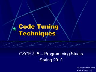 Code Tuning Techniques