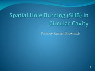 Spatial Hole Burning in Ring Cavity