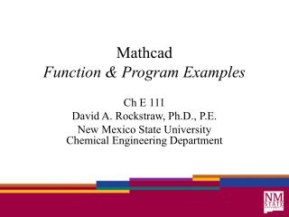 Mathcad Function & Program Examples