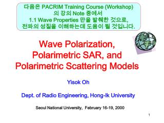 Wave Polarization, Polarimetric SAR, and Polarimetric Scattering Models