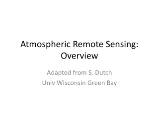 Atmospheric Remote Sensing: Overview
