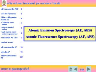 Atomic Emission Spectroscopy (AE, AES)  Atomic Fluorescence Spectroscopy (AF, AFS)