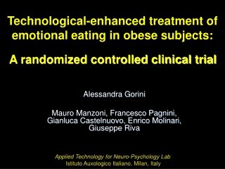 Technological-enhanced treatment of emotional eating in obese subjects: