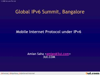 Mobile Internet Protocol under IPv6