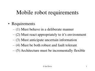Mobile robot requirements