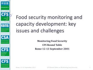 Food security monitoring and capacity development: key issues and challenges
