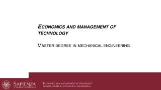 Economics and management of technology Master degree in mechanical engineering