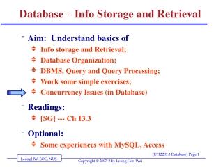 Database – Info Storage and Retrieval