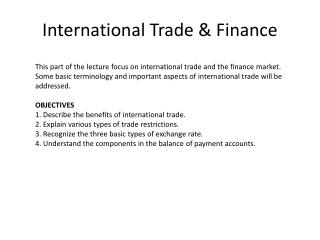 International Trade & Finance