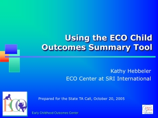 Using the ECO Child Outcomes Summary Tool