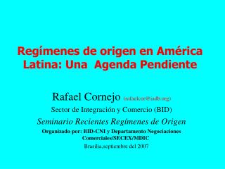 Regímenes de origen en América Latina: Una  Agenda Pendiente