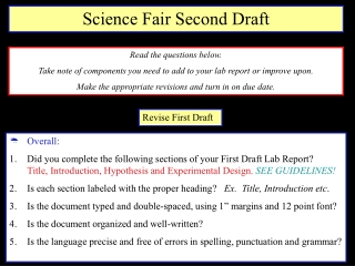 Revise First Draft