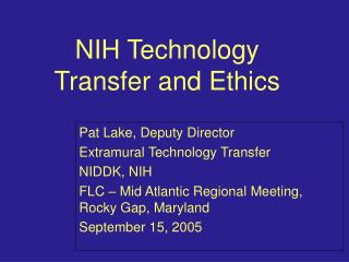 NIH Technology Transfer and Ethics