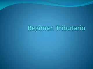 Regimen  Tributario