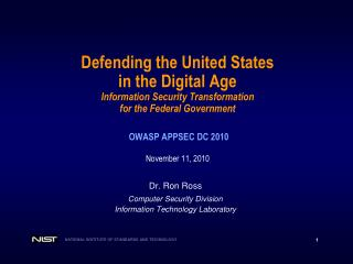 Defending the United States in the Digital Age Information Security Transformation  for the Federal Government    OWASP