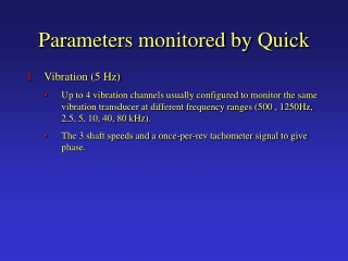 Parameters monitored by Quick