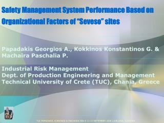 Safety Management System Performance Based on Organizational Factors of  Seveso  sites