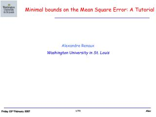 Alexandre Renaux Washington University in St. Louis