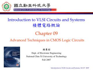 Chapter 09 Advanced Techniques in CMOS Logic Circuits