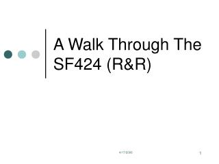 A Walk Through The SF424 (R&R)