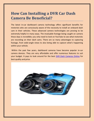 How Can Installing a DVR Car Dash Camera Be Beneficial?