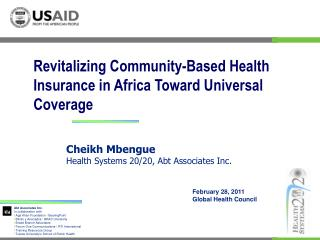 Revitalizing Community-Based Health Insurance in Africa Toward Universal Coverage