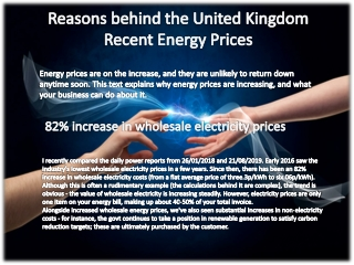 Reasons behind the United Kingdom Recent Energy Prices