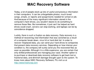 Importance of MAC recovery software
