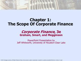 Chapter 1: The Scope Of Corporate Finance