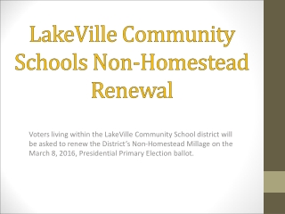 LakeVille Community Schools Non-Homestead Renewal