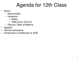 Agenda for 12th Class