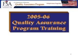 2005-06  Quality Assurance Program Training
