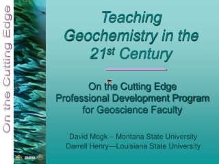 On the Cutting Edge Professional Development Program for Geoscience Faculty