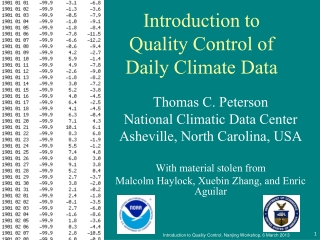 Introduction to Quality Control of Daily Climate Data
