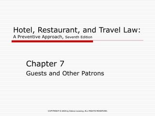 Hotel, Restaurant, and Travel Law: A Preventive Approach,  Seventh Edition