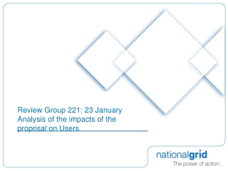 Review Group 221: 23 January  Analysis of the impacts of the proposal on Users