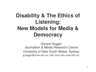 Disability & The Ethics of Listening:  New Models for Media & Democracy