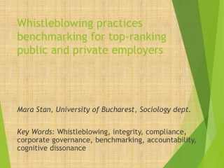 Whistleblowing practices benchmarking for top-ranking public and private employers