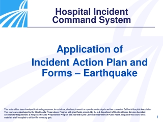 Application of  Incident Action Plan and Forms – Earthquake